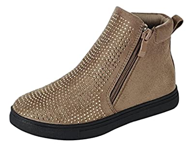 Faun Best Sparkly Tan Faux Leather School Shoe Sneaker Cool Wide Comfy Botines Marrones Above Ankle