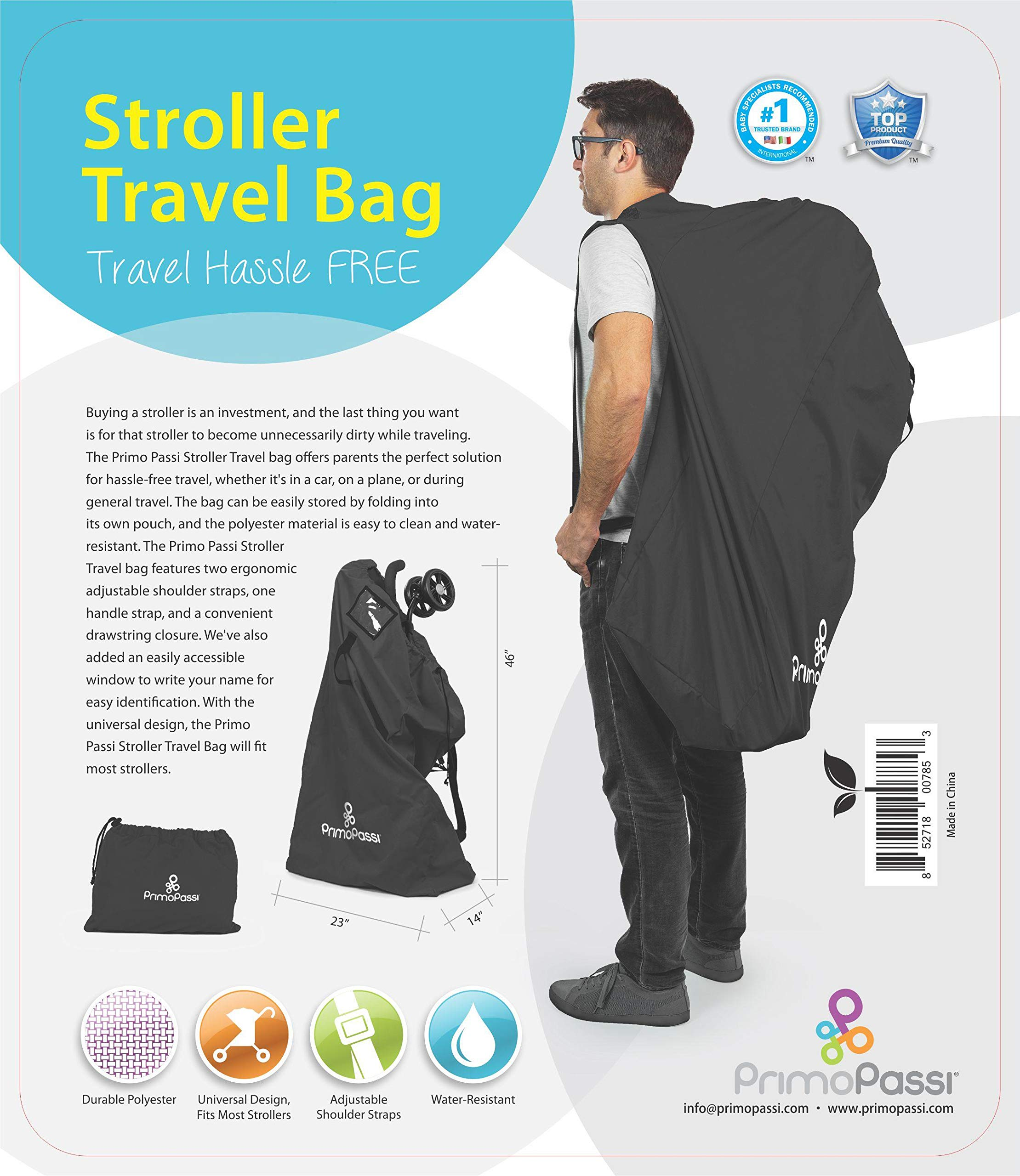 Primo Passi - Stroller Travel Bag | Stroller Airport Gate Check Bag | Protection (Black)