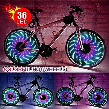 36 RGB LED bicicleta rueda luz señal de impermeable y antigolpes para bicicleta neumáticos luz Spoke