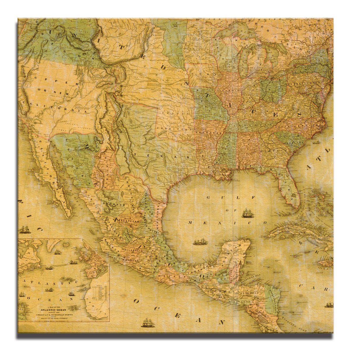JP London Ready to Hang Made Gallery Wrap Heavyweight Canvas Wall Art Antique Map North America Aged 14in SQSCNV2154