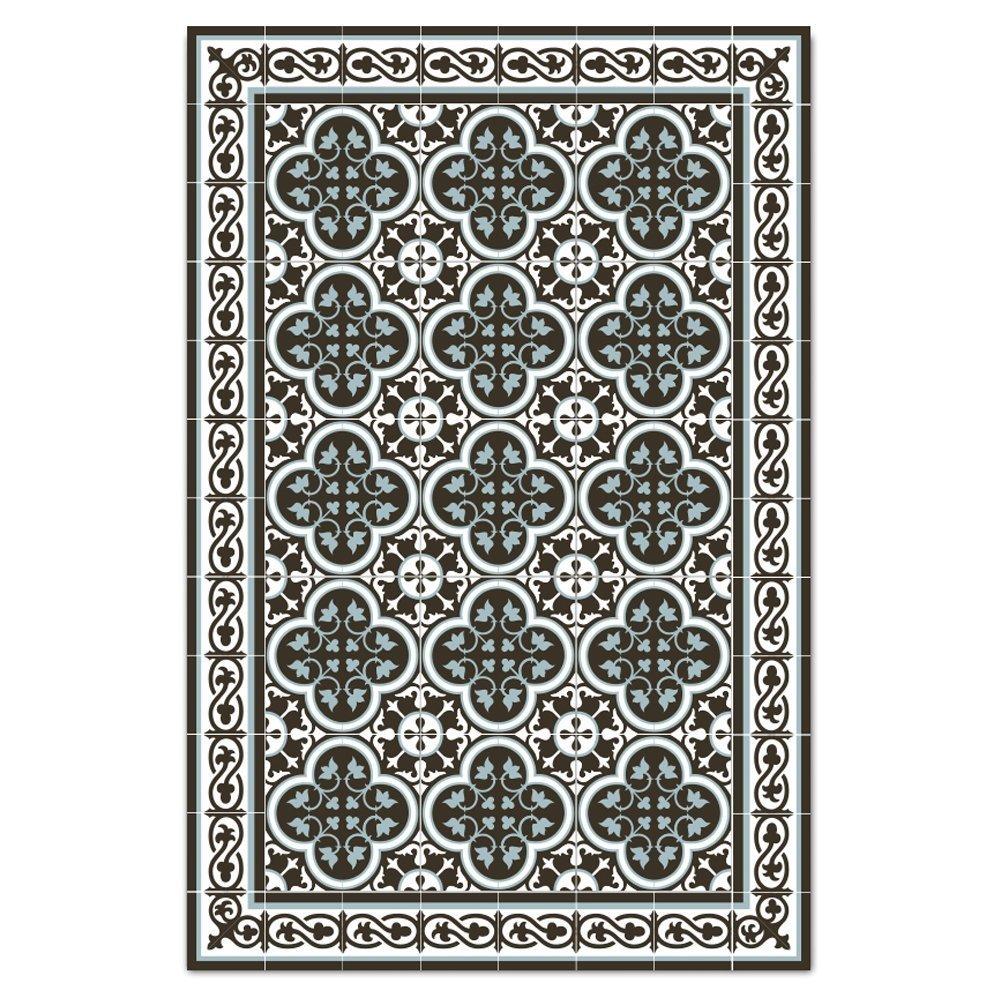 Dark brown & light blue Kitchen vinyl mat Carpet Tiles Pattern Decorative linoleum rug 171 - 60*90 cm