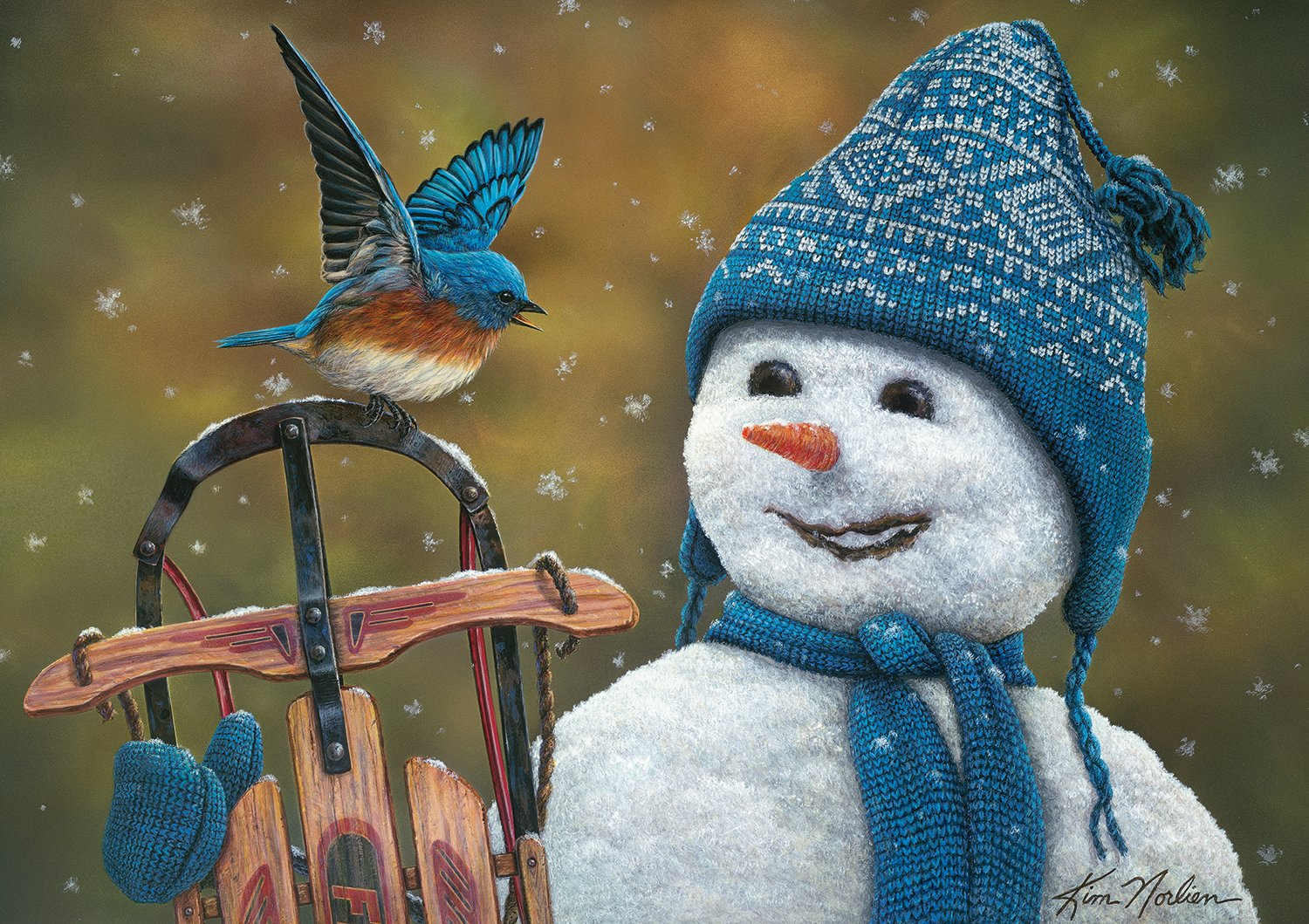 Buffalo Games - Holiday Collection - Kim Norlien - Snow Brother - 300 Large Piece Jigsaw Puzzle