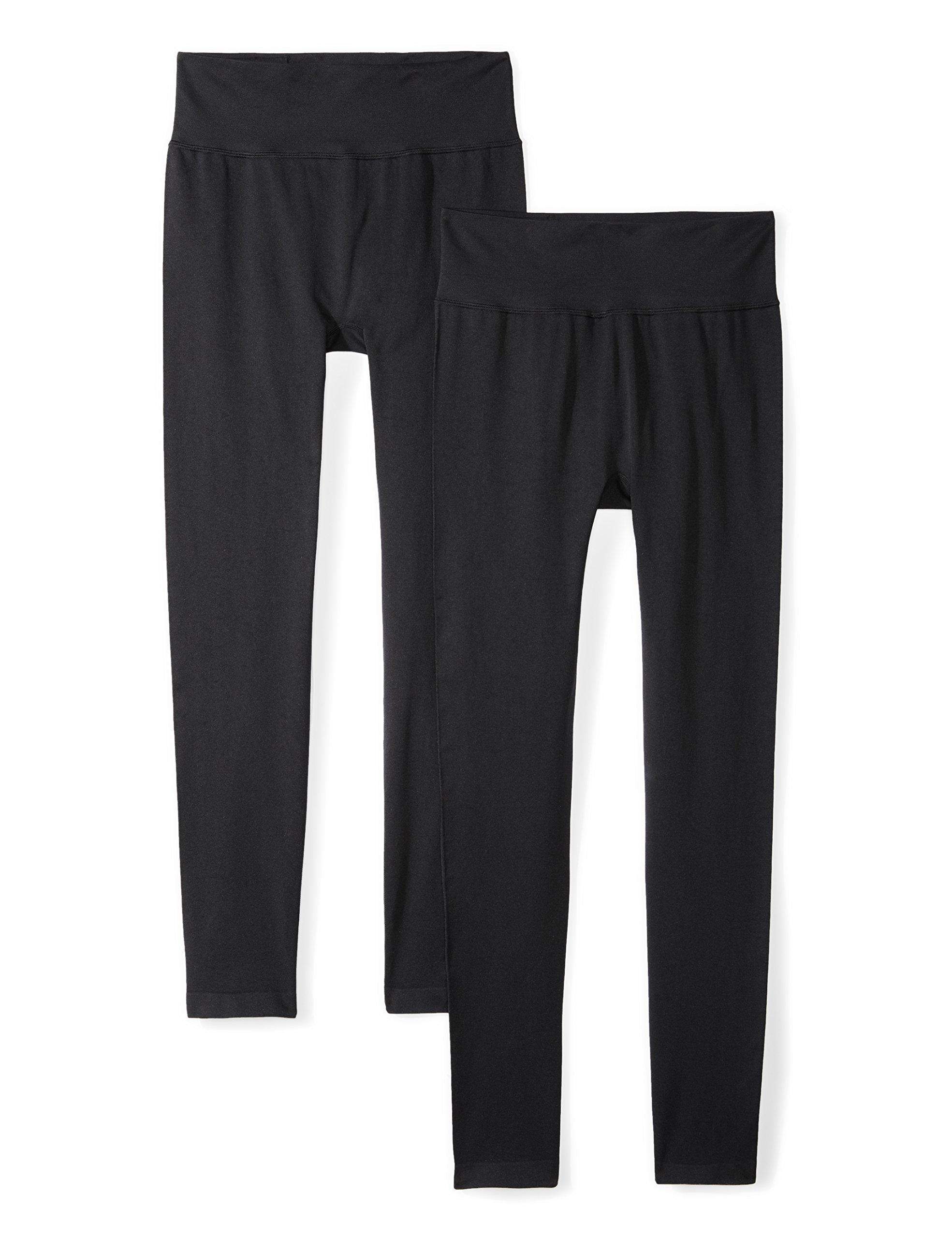 Daily Ritual Women's Seamless Legging, 2-Pack Pants, Black/Black, S