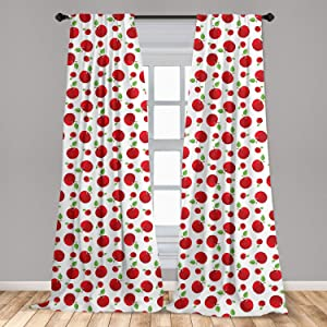 """Ambesonne Apple Curtains, Vivid Colored Cartoon Style Ripe Red Apples Vitamins Taste Healthy Food, Window Treatments 2 Panel Set for Living Room Bedroom Decor, 56"""" x 95"""", White Green"""