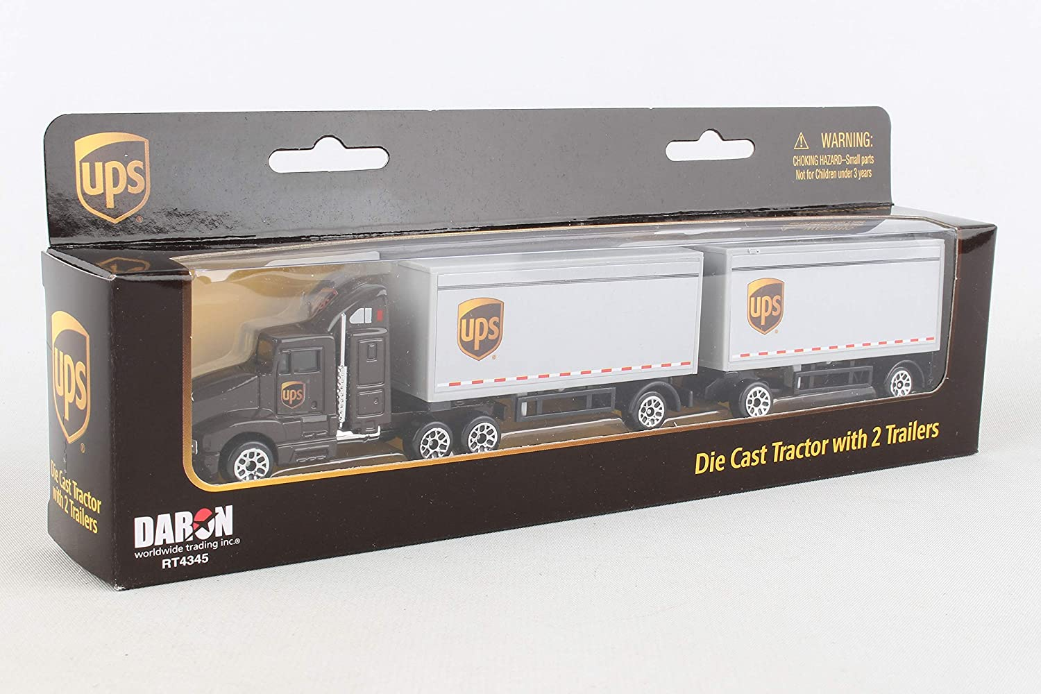 Daron UPS Die Cast Tractor with 2 Trailers