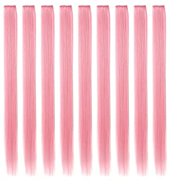 ECOCHARMS 8PCS Princess Party Highlights Clip in Smoke Pink Hair Extensions Costumes Wig for Girls//Dolls Light Pink Light Blue