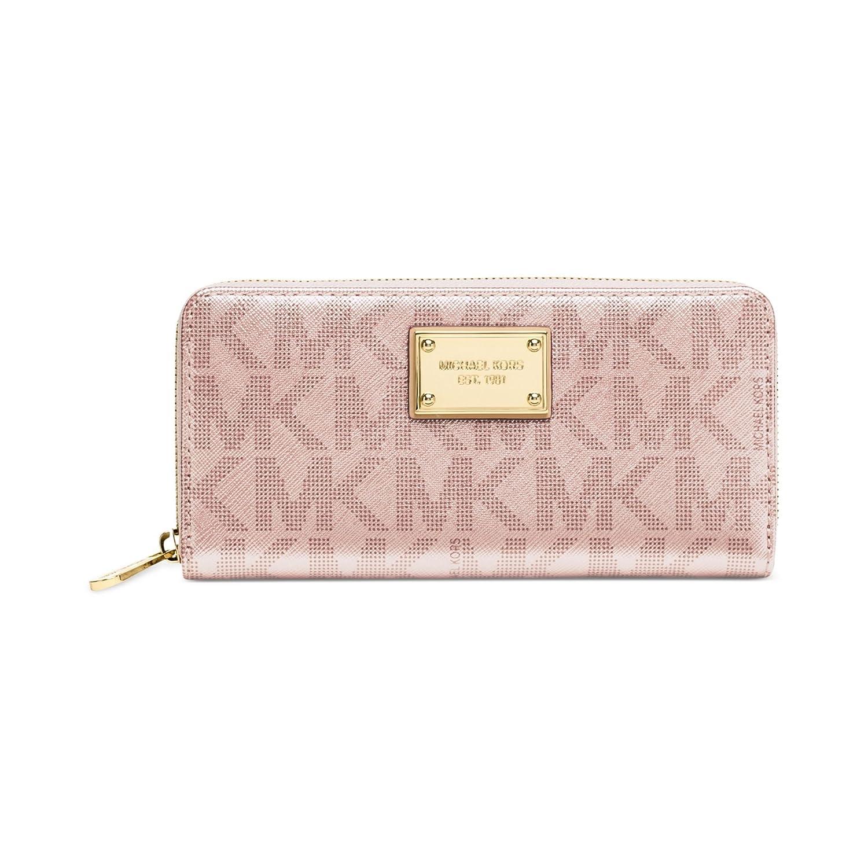 1e9858ee0f703 Michael Kors Rose Gold Signature Metallic Zip Around Continental Wallet   Handbags  Amazon.com
