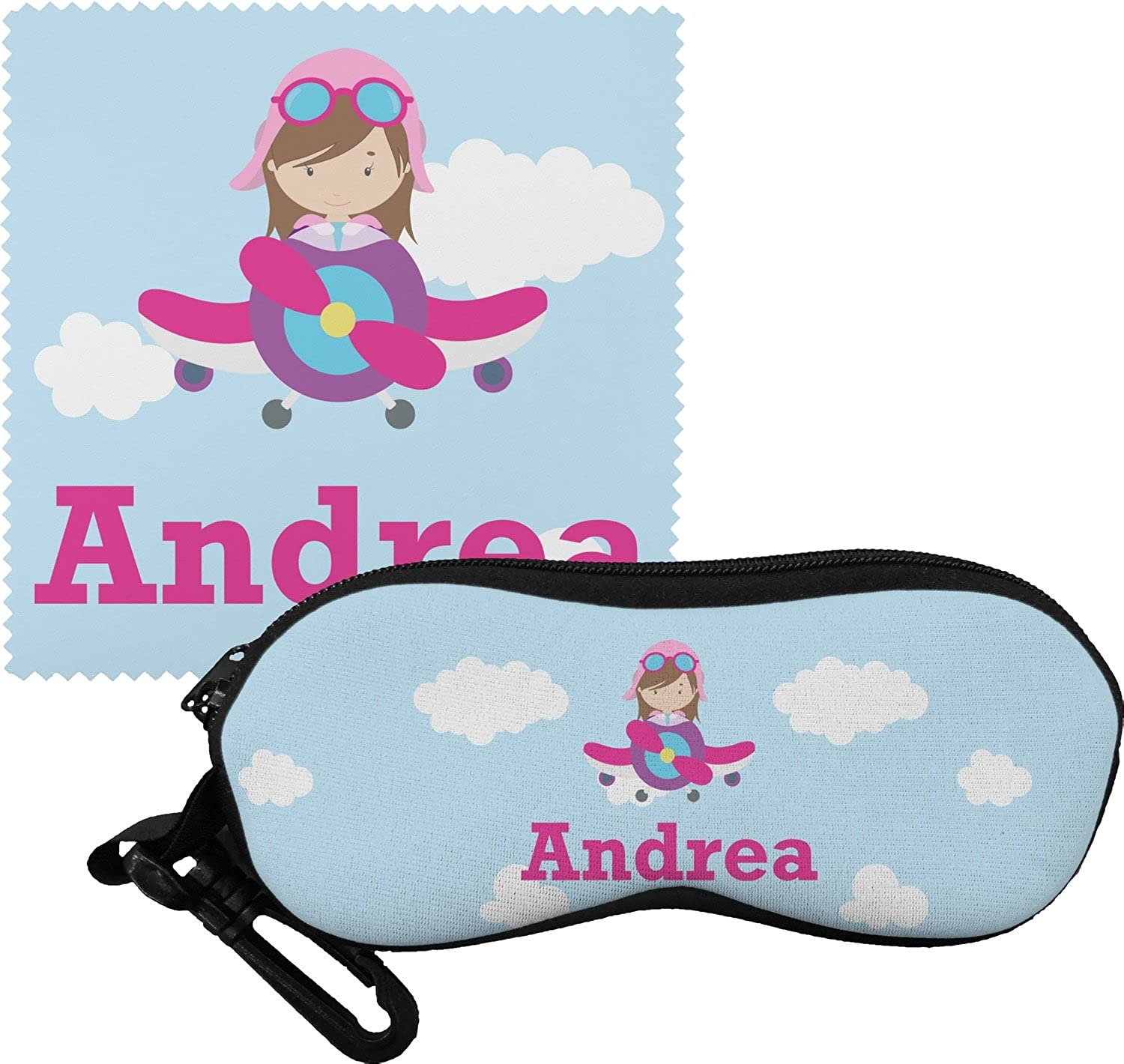 Airplane & Girl Pilot Eyeglass Case & Cloth (Personalized)