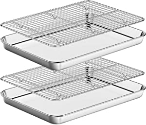 Baking Sheet with Rack Set [2 Pans + 2 Racks ] HKJ Chef Stainless Steel Cookie Sheet Baking Pan Tray with Cooling Rack, Size 16 x 12 x 1 Inch, Non Toxic & Heavy Duty & Easy Clean
