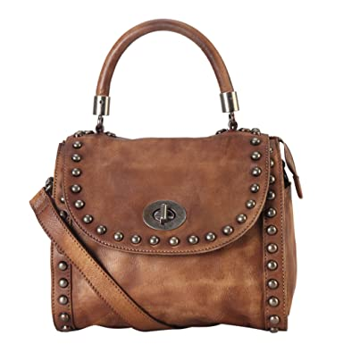 736269ec2f Amazon.com  Diophy Distressed Genuine Leather Top Handle Zipper Closure  Medium Tote Handbag 150392 Brown  Shoes