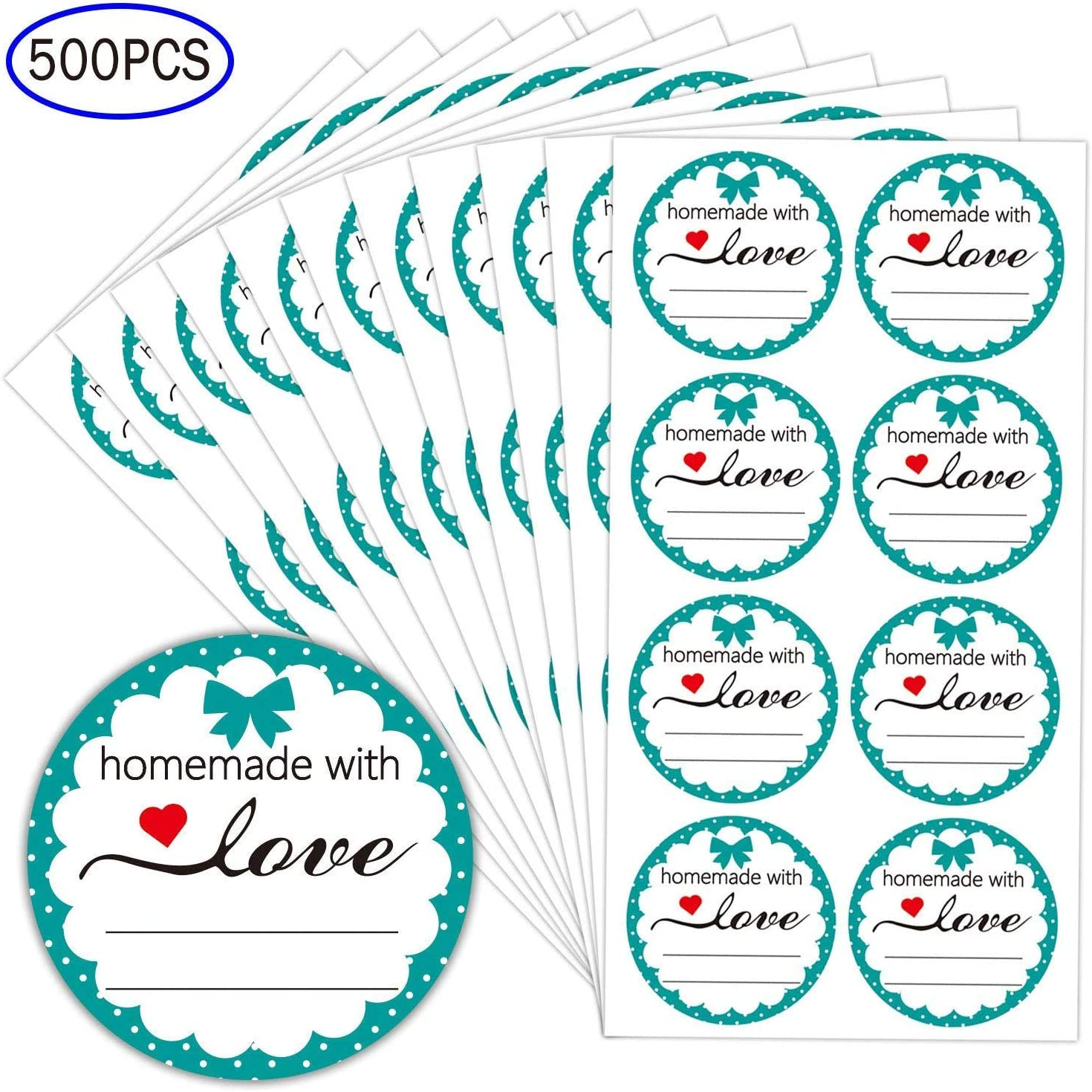 2 Inch Round Homemade with Love Sticker with Lines for Writing-500 Labels per Pack-Homemade with Love Canning Labels for Jars