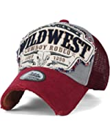ililily Wild West Patch Vintage Distressed Snapback Trucker Hat Baseball Cap