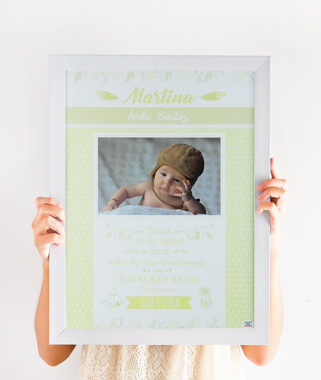 mami me mima - Lámina de Nacimiento Personalizada con Todos los Datos del Bebé y Fotografía (Amarillo): Amazon.es: Bebé