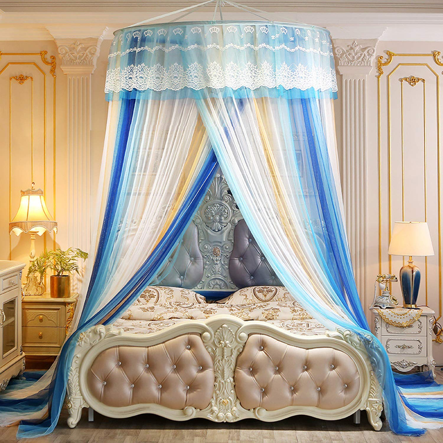 Mosquito net for Double Bed Hanging Dome Kids Baby Bedding Bed Home Decor Repellent Tent Insect Reject Canopy Bed,Blue by SuWuan mosquito net (Image #2)