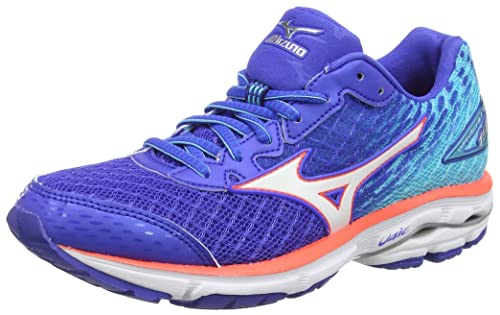 deaac9ac154b Mizuno Women's Wave Rider 19 Running Shoes, Dazzling Blue/White/Capri),