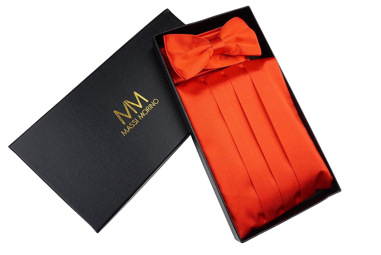 Massi Morino, set con fascia da smoking, fazzoletto e papillon, in un'elegante scatola regalo, set da smoking in nero, rosso o blu, Rot, regolabile