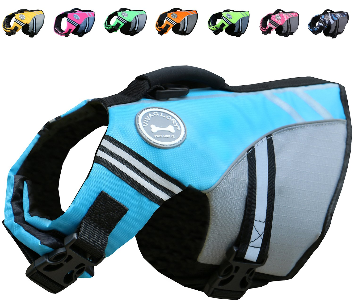 Vivaglory New Sports Style Ripstop Dog Life Jacket with Superior Buoyancy & Rescue Handle, Lake Blue, XS