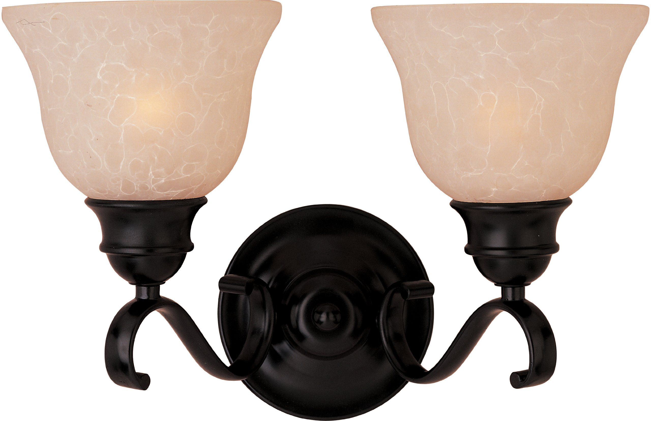 Maxim 85808WSOI Linda EE 2-Light Bath Vanity Wall Sconce, Oil Rubbed Bronze Finish, Wilshire Glass, GU24 Fluorescent Bulb , 100W Max., Dry Safety Rating, Standard Dimmable, Glass Shade Material, 1150 Rated Lumens