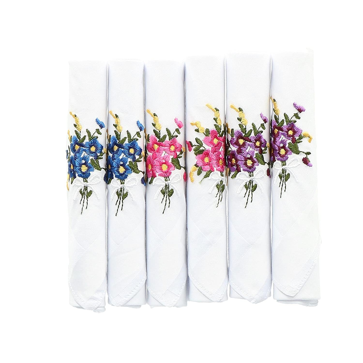 Selini Women's Floral Embroidered Cotton Handkerchiefs (Pack of 6), White