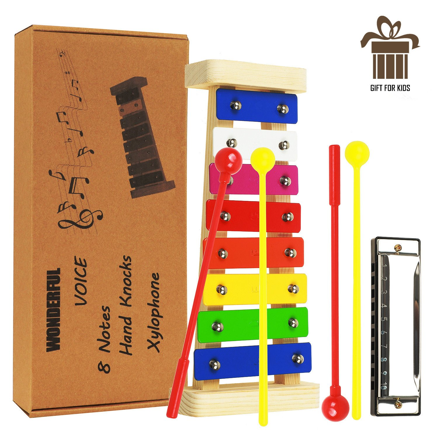 Xylophone for Kids, Best Holiday Birthday Gift Wood Xylophone for Children, Kids Musical Instruments 8 Notes Metal Keys Glockenspiel, Coming with 4 Child Safe Plastic Mallets and Harmonica, Music Card