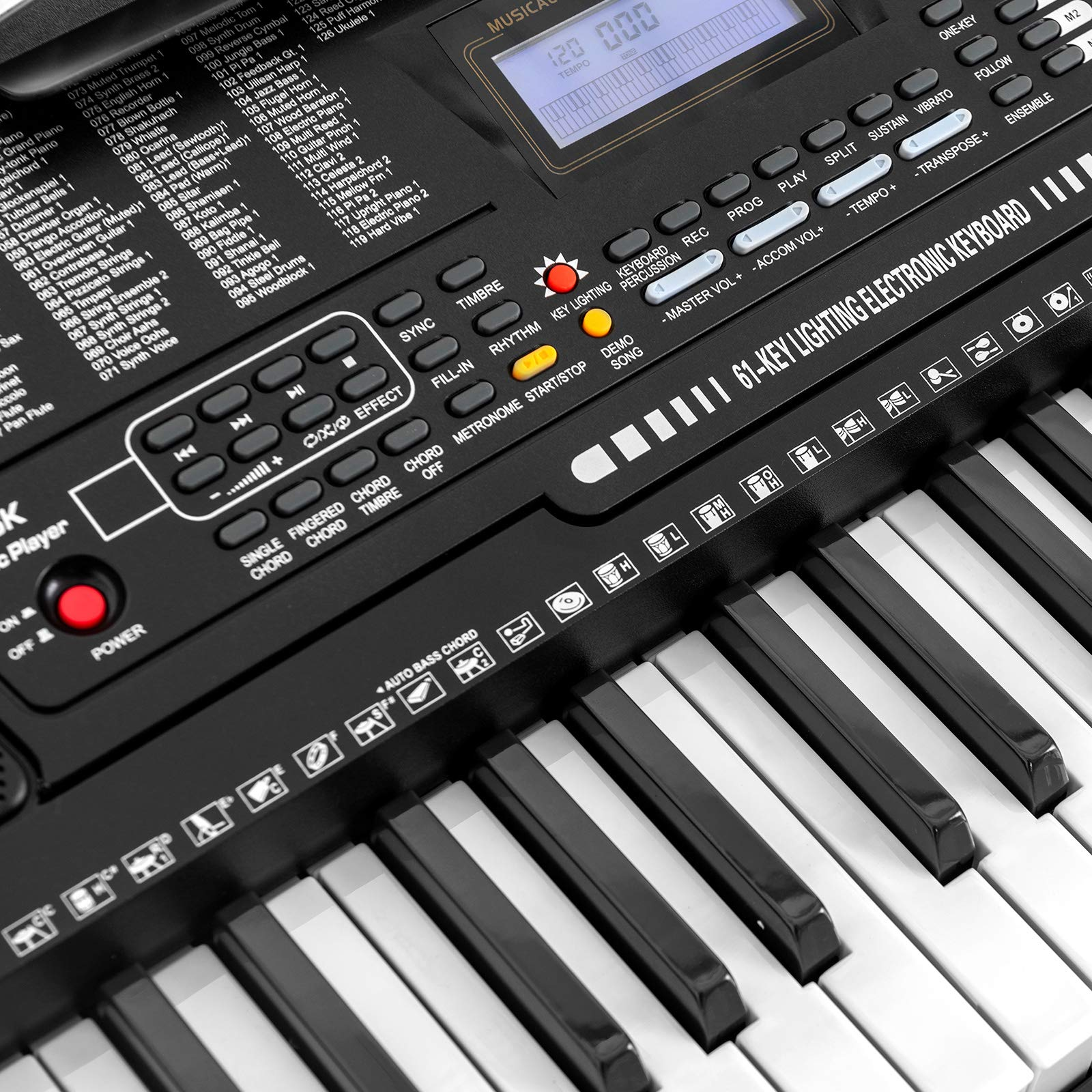LAGRIMA 61 Key Electric Keyboard Piano w/Light Up Keys for Beginner, Lighted Portable Keyboard w/Music Player Function, Micphone, Power Supply, Music Stand, Black by LAGRIMA (Image #9)