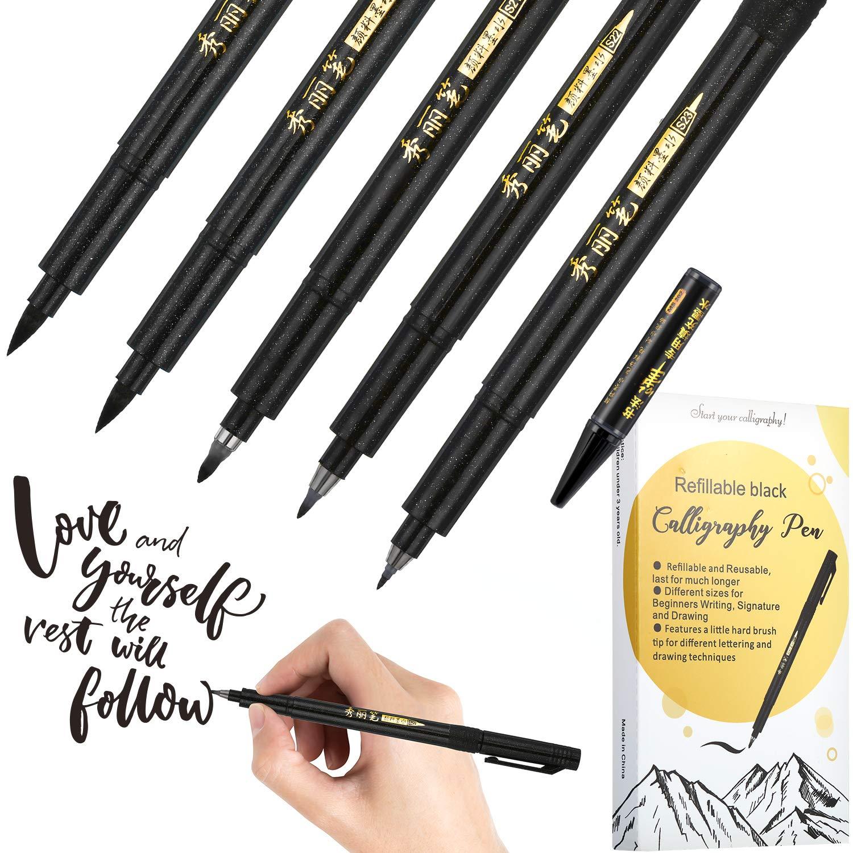 2fb33e74d2d3 Frienda Refill Brush Calligraphy Pen for Lettering, 4 Sizes Black Brush  Marker Pen Calligraphy Set for Beginners Writing, Signature, Illustration,  ...