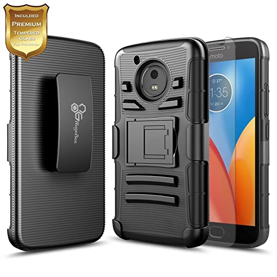 half off 2bbdb e1e30 Moto E4 Plus Case with [Tempered Glass Screen Protector], NageBee [Heavy  Duty] Dual Layer [Belt Clip] Holster [Kickstand] Combo Rugged Case for ...