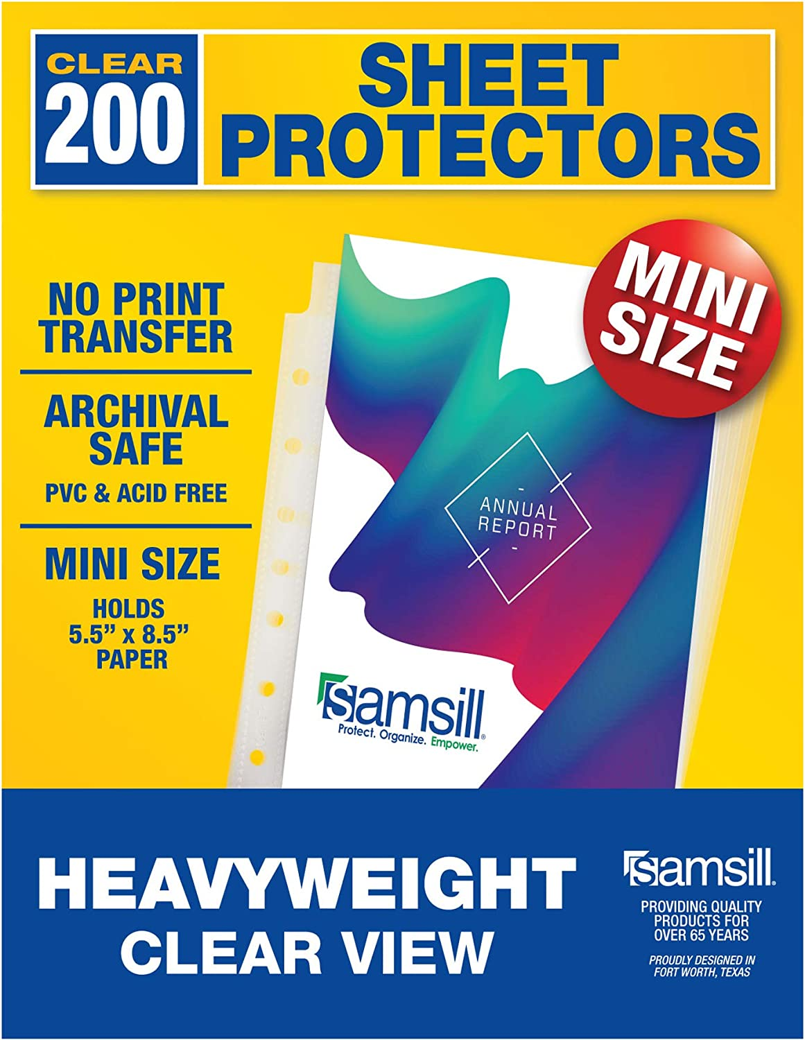 Samsill 200 Pack Heavyweight Clear Mini Binder Sheet Protectors, 5.5 x 8.5 Inch Page Protectors