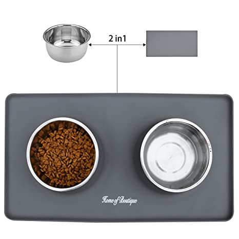 Comedero para Perro o Gato de Acero Inoxidable, Dos Cuencos con Alfombra Antideslizante de Silicona para Perros Grande/Medianos y Gatos (L, 24oz/bol)