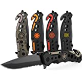 3-in-1 Carbon Fiber Tactical Knife for Emergency First Responders with Glass Breaker, Seatbelt Cutter and Steel Serrated Blad