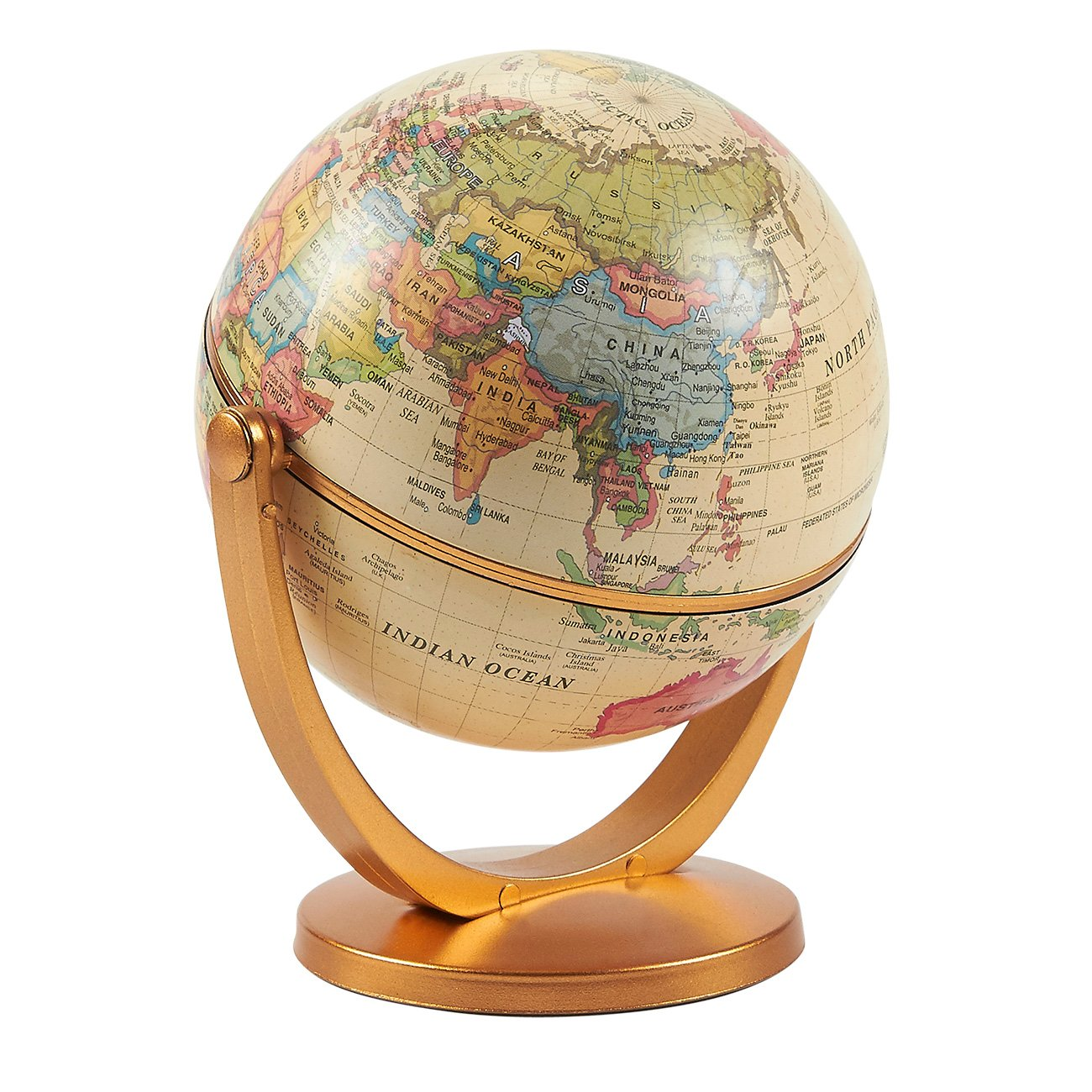World Globe - 4-Inch Globe of the World with Stand, Spinning Rotating Globe for Kids, Geography Teachers, Parents as Home, Office Desktop Decoration, Educational Tool, Yellow, 5 Inches Tall Juvale