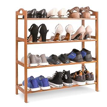 19d99e54aa4c04 HOMFA Étagère à Chaussures Porte-chaussures 4 Niveaux Meuble Chaussure en  Bambou Naturel 68.5*