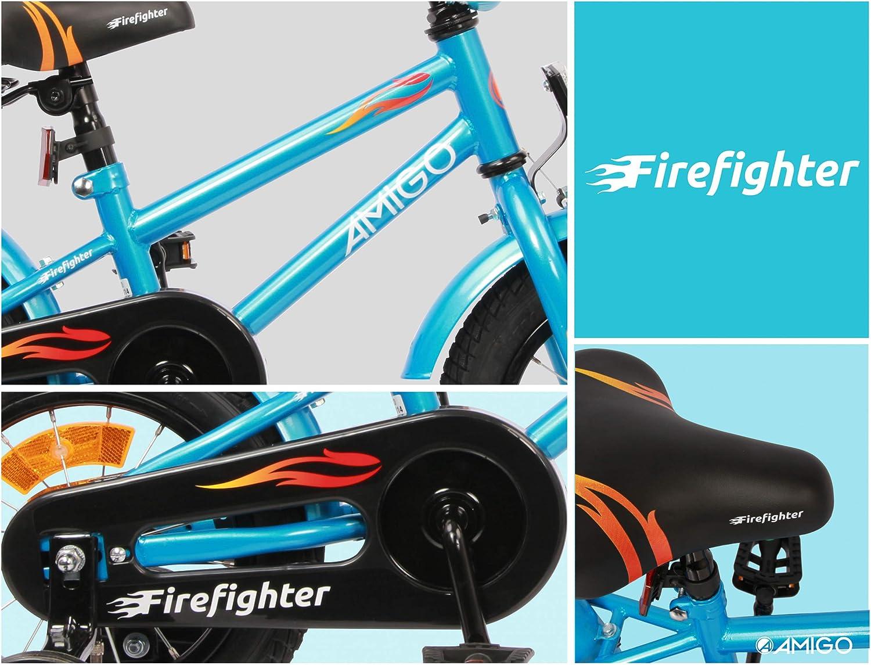 Bicicleta infantil para ni/ño manillar acolchado y ruedas de apoyo color azul con freno de mano a partir de 4-6 a/ños 16 pulgadas AMIGO Firefighter contrapedal