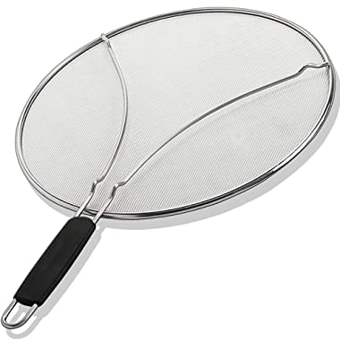 Grease Splatter Screen for Frying Pan 11.5 Inch - Stops 99% of Hot Oil Splash - Protects Skin from Burns - Splatter Guard for Cooking - Iron Skillet Lid Keeps Kitchen Clean Stainless Steel