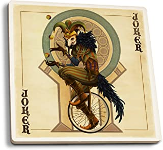 product image for Lantern Press Joker - Playing Card (Set of 4 Ceramic Coasters - Cork-Backed, Absorbent)