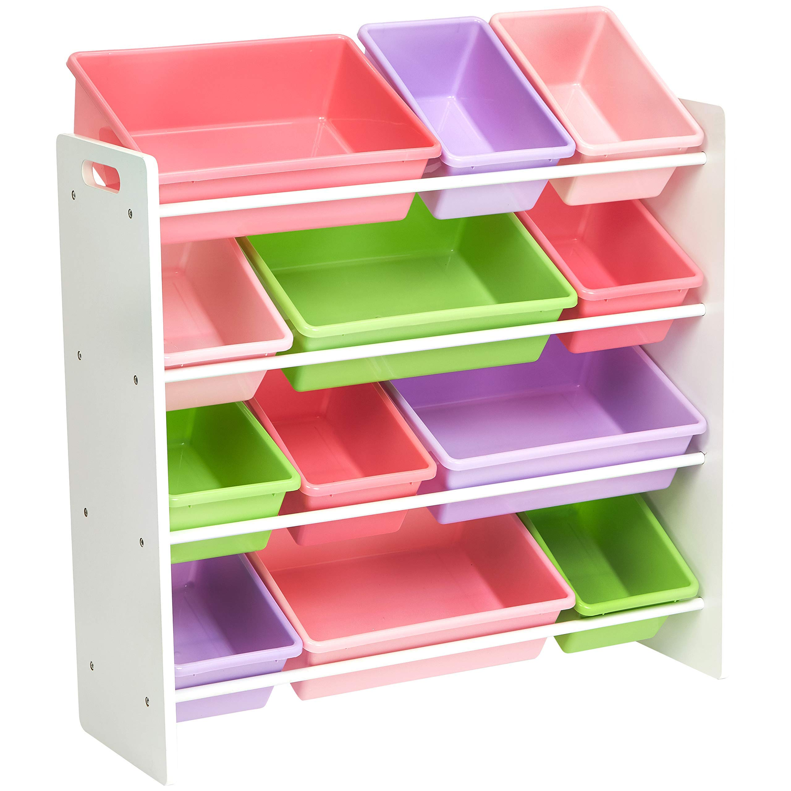 AmazonBasics Kids Toy Storage Organizer Bins - White/Pastel by AmazonBasics