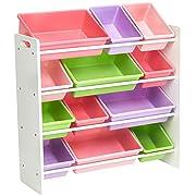 AmazonBasics Kids' Toy Storage Organizer - White/Pastel