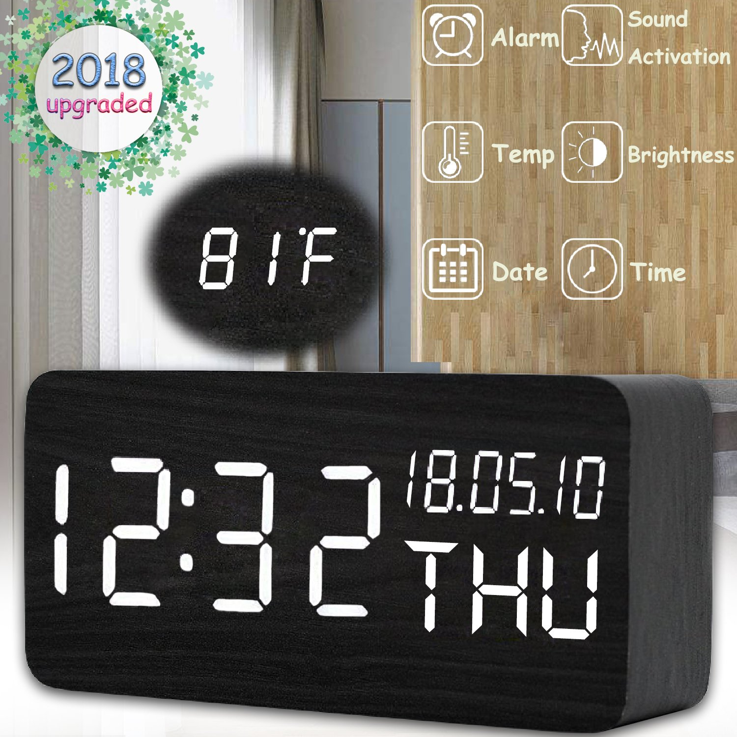 YAKOO LED Digital Alarm Clock - Electronic Wood Alarm Clock Triple Alarms Temperature Brightness Sound Control 12/24H Time Date Week Battery USB Desk Display Clock Office Bedroom Home Heavy Sleepers