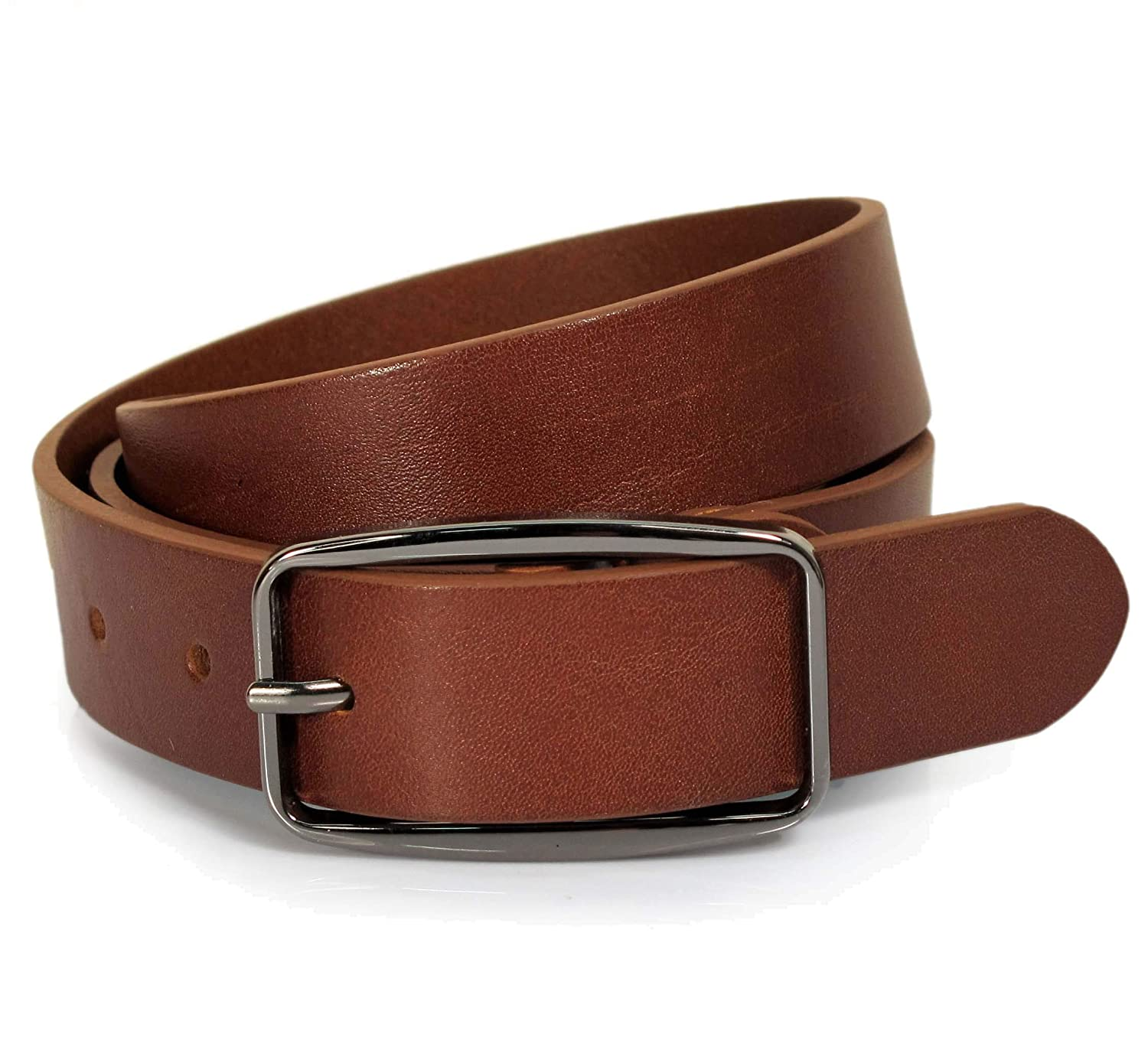 UM3 Mens Real Genuine Leather Tan Brown Belt 1.1 Wide S-L Thick Casual Jeans