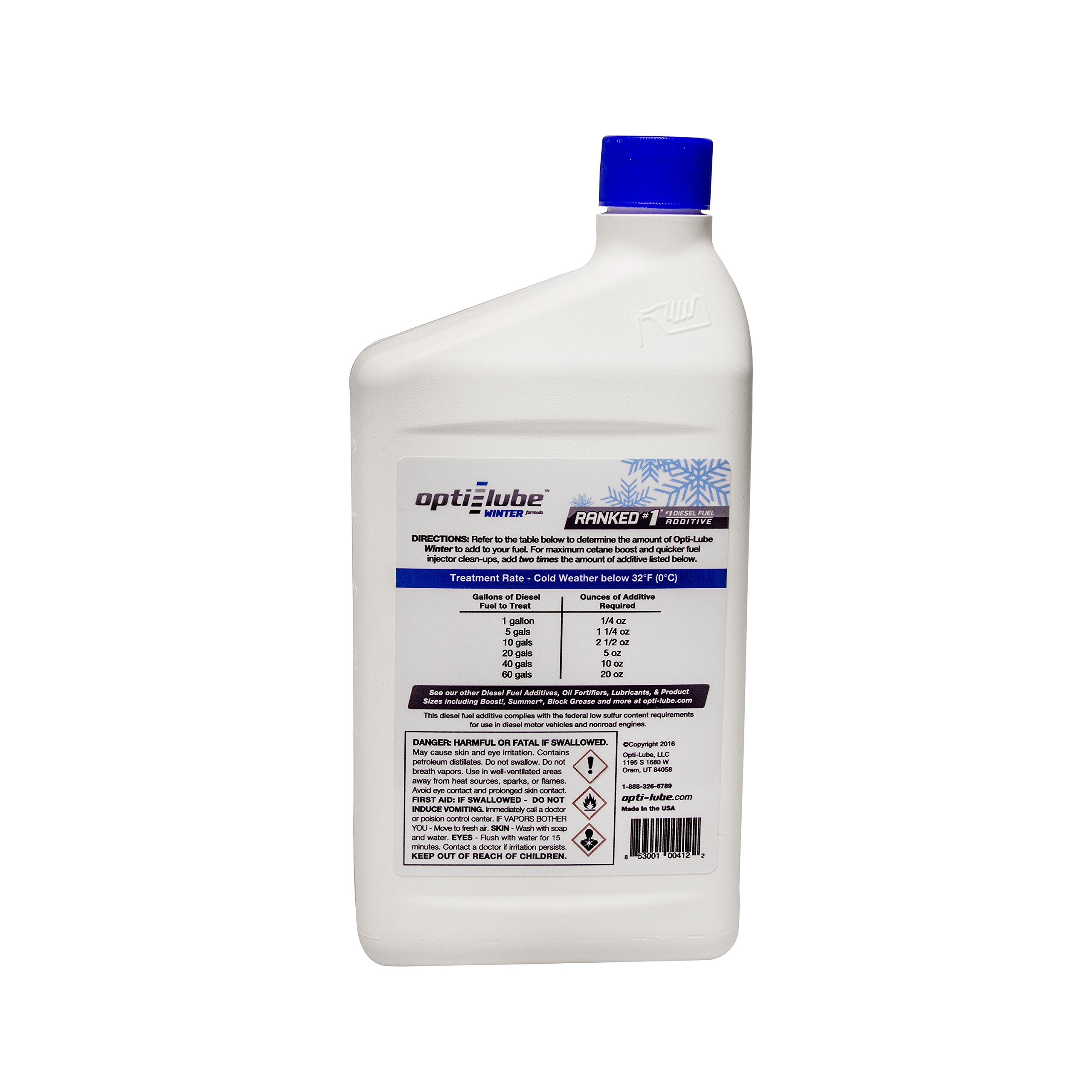Opti-Lube Winter Formula Diesel Fuel Additive: Quart, Case of 12. Treats up to 128 Gallons per Quart