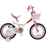 Royalbaby Jenny Princess Pink Girl's Bike with Training Wheels and Basket, Perfect Gift for Kids, 12-14-16-18