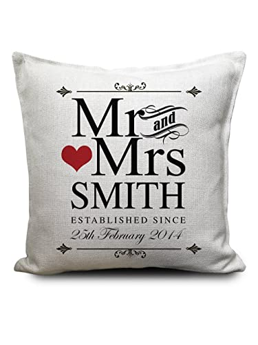 Mr And Mrs Personalised Cushion Cover Gift Valentines Day Wedding