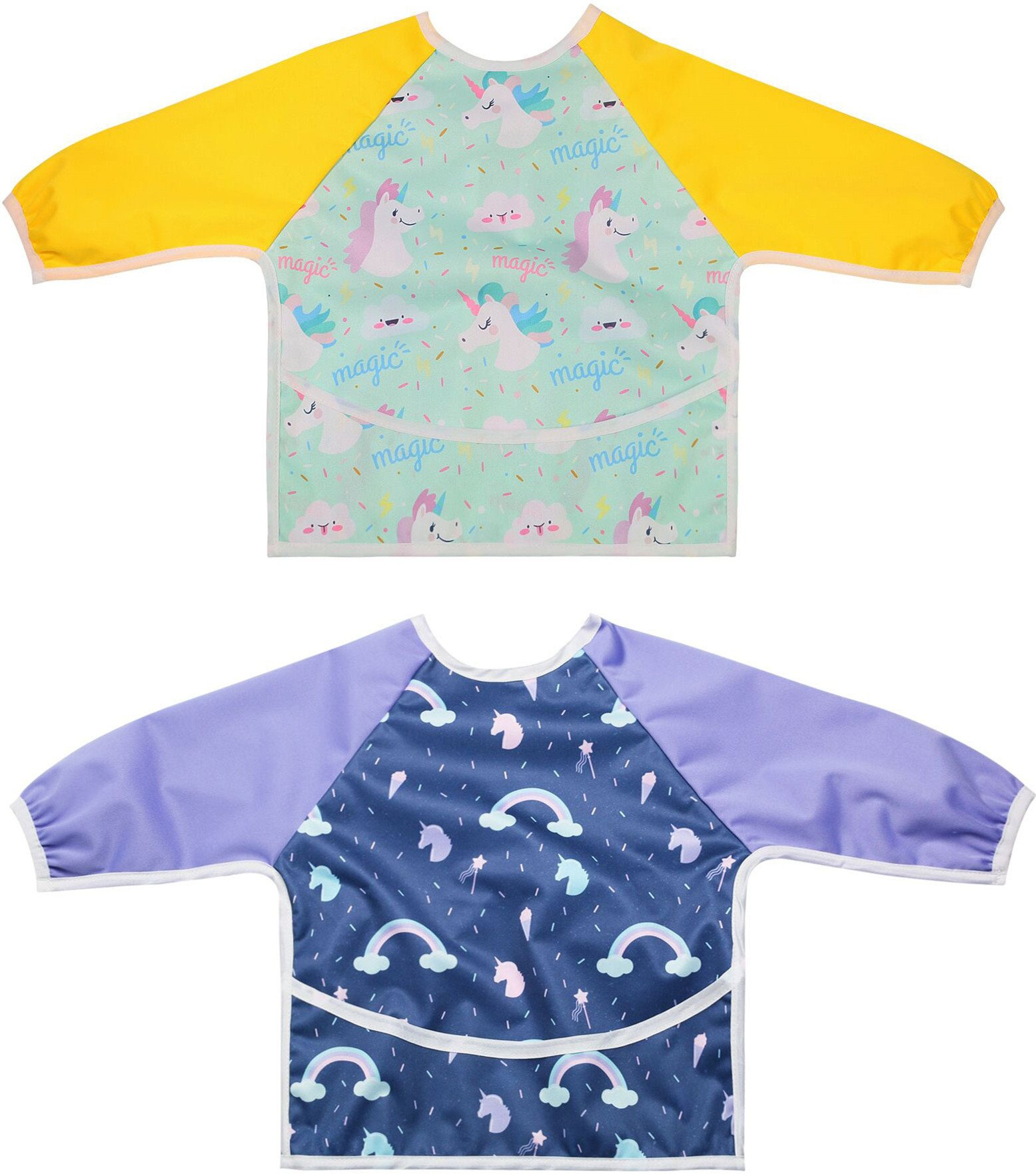 2 Pack''Unicorn & Rainbow'' Long Sleeved Bib Waterproof Bibs with Pocket for Baby and Toddler- 6 to 24 months baby girl by Little Jump (Unicorn & Rainbow)