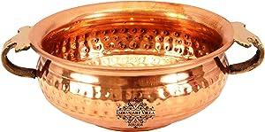 Indian Art Villa Vintage Style Copper Urli Container Pot, Storage Water, Home Office Décor Gift Item, Diameter 6.0