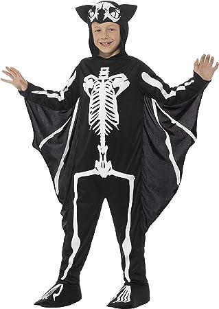 Halloween Kostuem Skelett Amazon.Halloween Smiffys Fledermaus Skelett Kostum Schwarz Mit Kapuzen Overall Befestigten Flugeln Amazon De Spielzeug