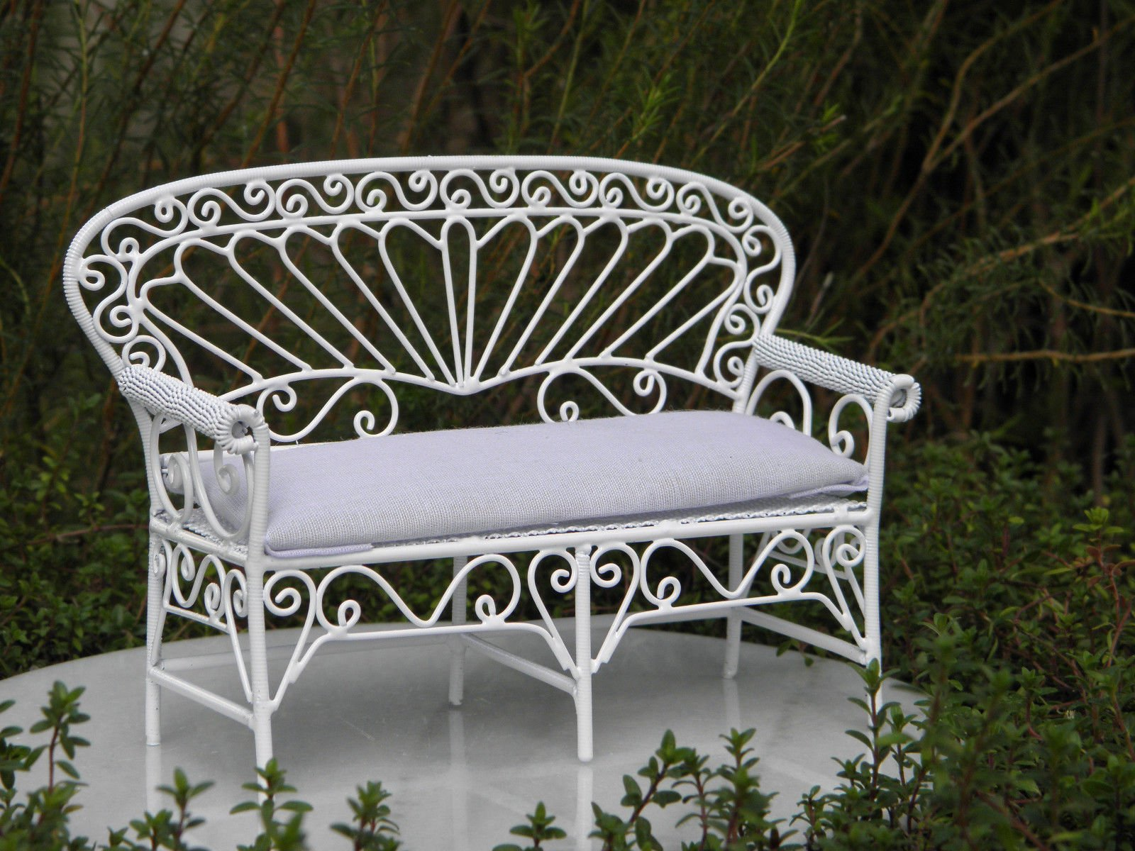 Miniature Dollhouse Fairy Garden Furniture White Wire Settee Bench