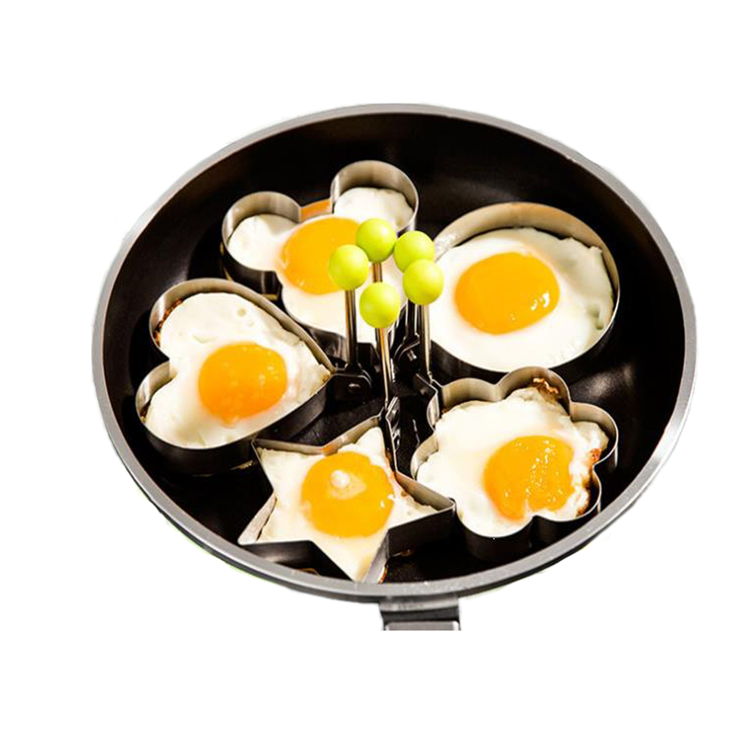 Maikerry Egg Ring Fried Egg Molds Stainless Steel 5PCS Different Shapes Fried Egg Cooker Egg Form for Making Cakes, Pancakes, Meatloaf, Biscuits Kitchen Tool.