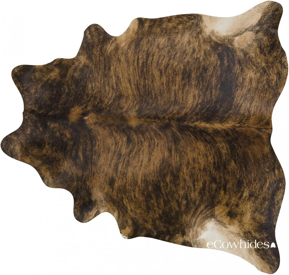 eCowhides Brindle Brazilian Cowhide Area Rug, Cowskin Leather Hide for Home Living Room XL 7 x 6 ft