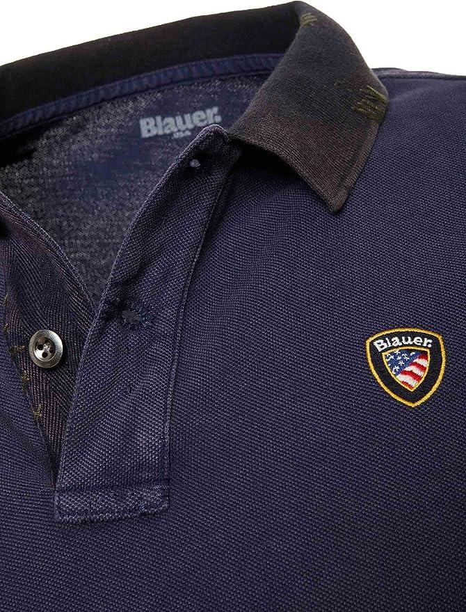 Blauer - Polo de piqué con escudo para hombre, color azul ...