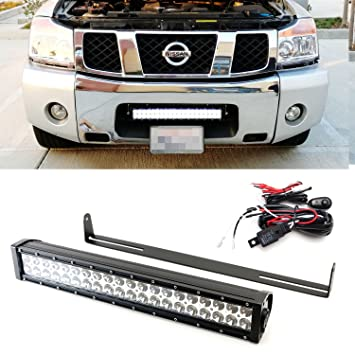 Amazon ijdmtoy 20 120w high power led light bar w lower ijdmtoy 20quot 120w high power led light bar w lower bumper grille mounting brackets aloadofball Image collections